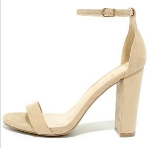 Lulu's Taylor Natural Suede Ankle Strap Heel